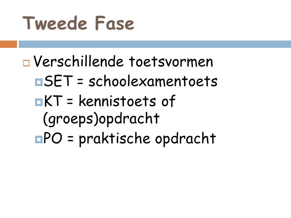Tweede Fase  Verschillende toetsvormen  SET = schoolexamentoets  KT = kennistoets of (groeps)opdracht  PO = praktische opdracht