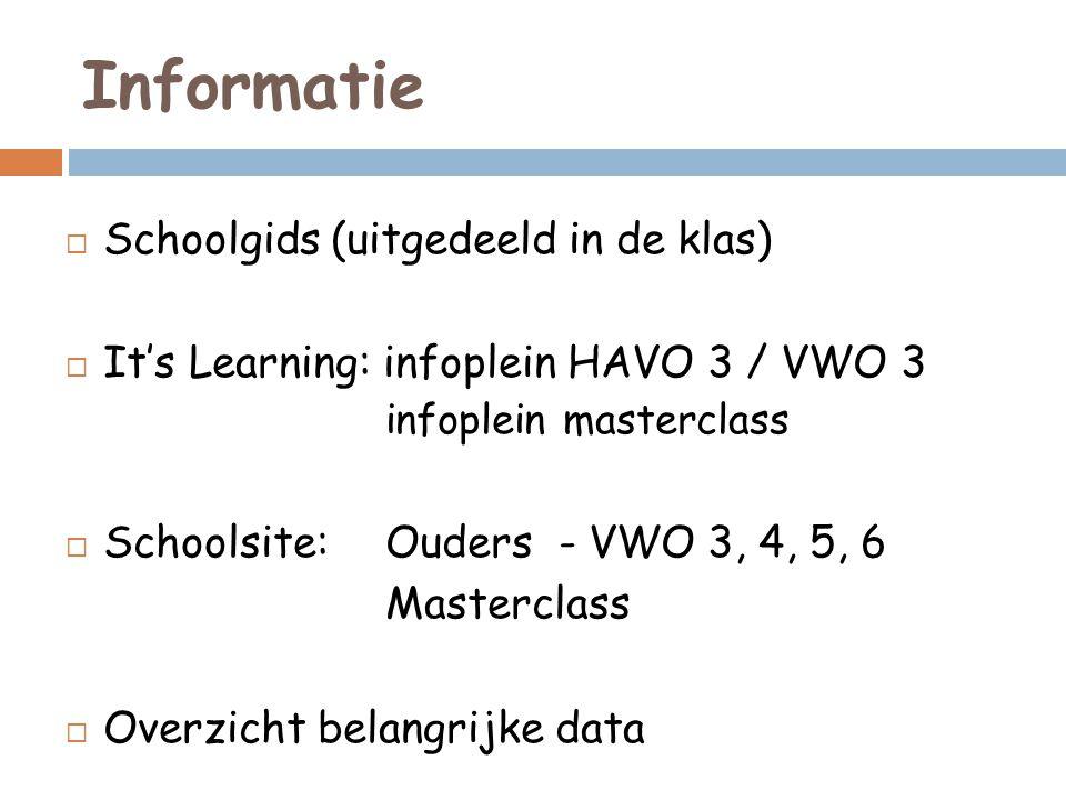 Informatie  Schoolgids (uitgedeeld in de klas)  It's Learning: infoplein HAVO 3 / VWO 3 infoplein masterclass  Schoolsite: Ouders - VWO 3, 4, 5, 6