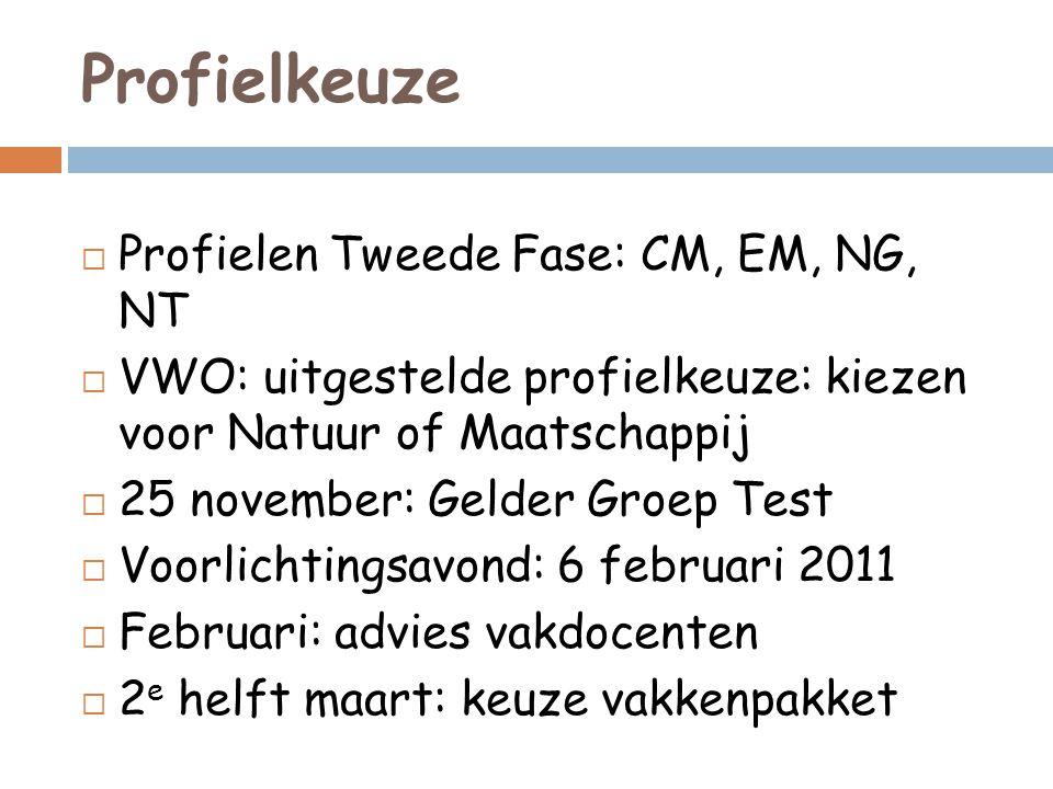 Profielkeuze  Profielen Tweede Fase: CM, EM, NG, NT  VWO: uitgestelde profielkeuze: kiezen voor Natuur of Maatschappij  25 november: Gelder Groep T