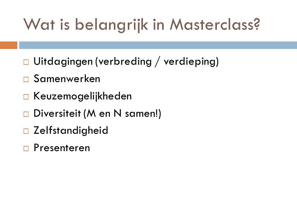 Wat is belangrijk in Masterclass.