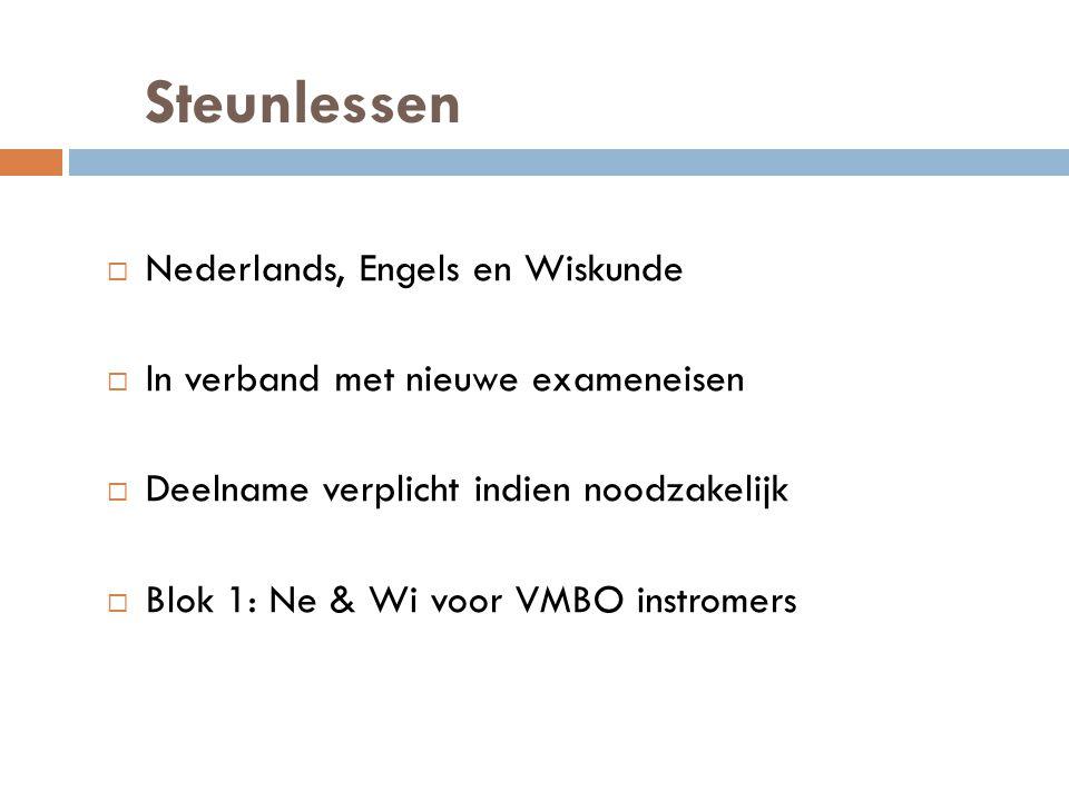 Steunlessen  Nederlands, Engels en Wiskunde  In verband met nieuwe exameneisen  Deelname verplicht indien noodzakelijk  Blok 1: Ne & Wi voor VMBO