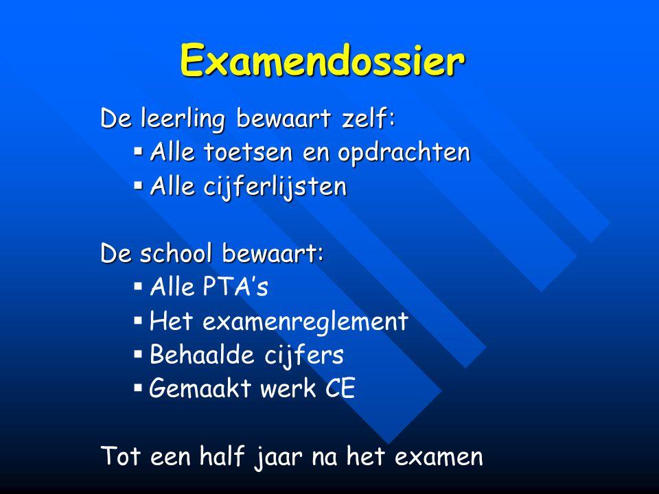 Examendossier De leerling bewaart zelf:  Alle toetsen en opdrachten  Alle cijferlijsten De school bewaart:   Alle PTA's   Het examenreglement 