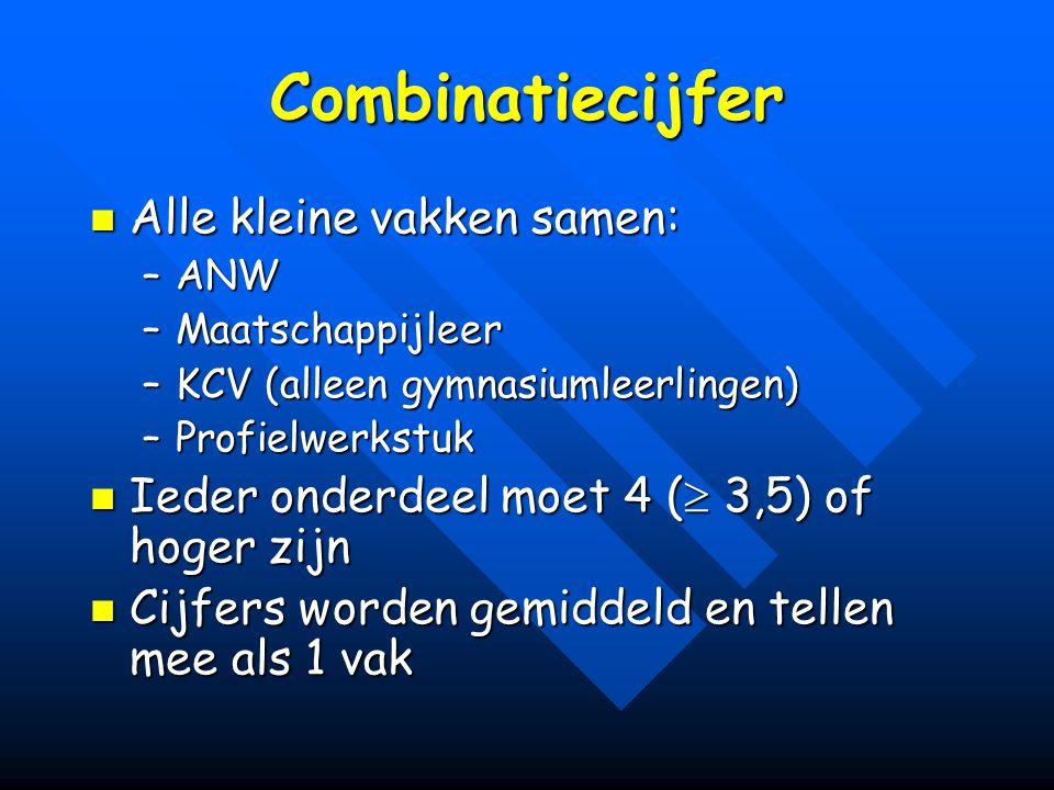 Combinatiecijfer Alle kleine vakken samen: Alle kleine vakken samen: –ANW –Maatschappijleer –KCV (alleen gymnasiumleerlingen) –Profielwerkstuk Ieder o