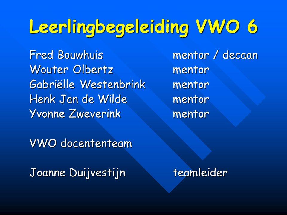Leerlingbegeleiding VWO 6 Fred Bouwhuismentor / decaan Wouter Olbertzmentor Gabriëlle Westenbrinkmentor Henk Jan de Wildementor Yvonne Zweverinkmentor