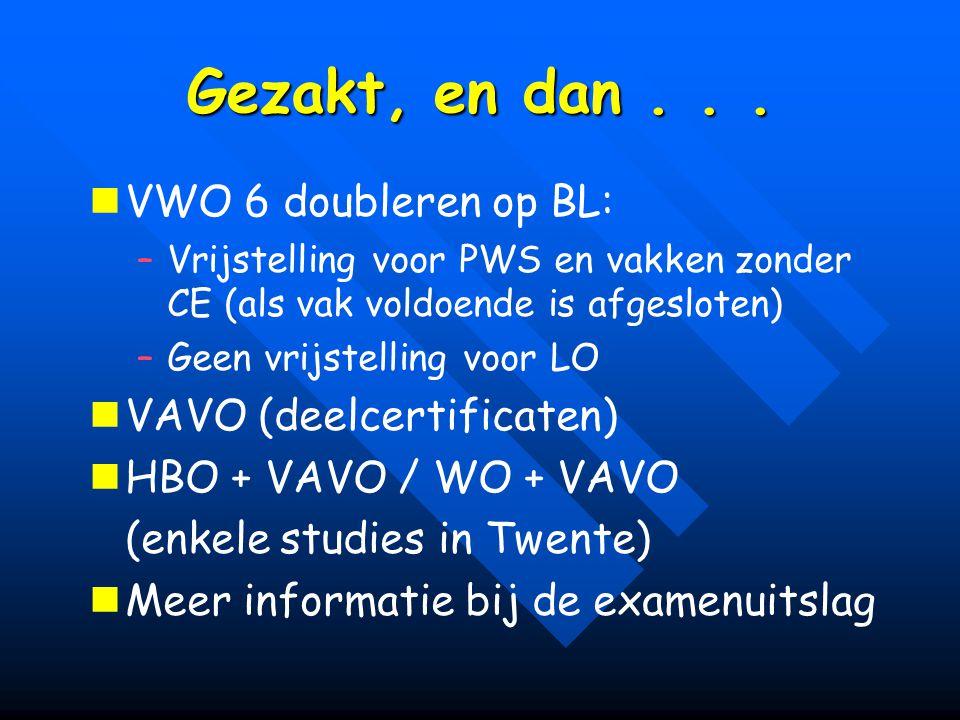 Gezakt, en dan... VWO 6 doubleren op BL: – –Vrijstelling voor PWS en vakken zonder CE (als vak voldoende is afgesloten) – –Geen vrijstelling voor LO V
