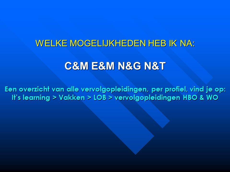 WELKE MOGELIJKHEDEN HEB IK NA: C&M E&M N&G N&T Een overzicht van alle vervolgopleidingen, per profiel, vind je op: It's learning > Vakken > LOB > vervolgopleidingen HBO & WO