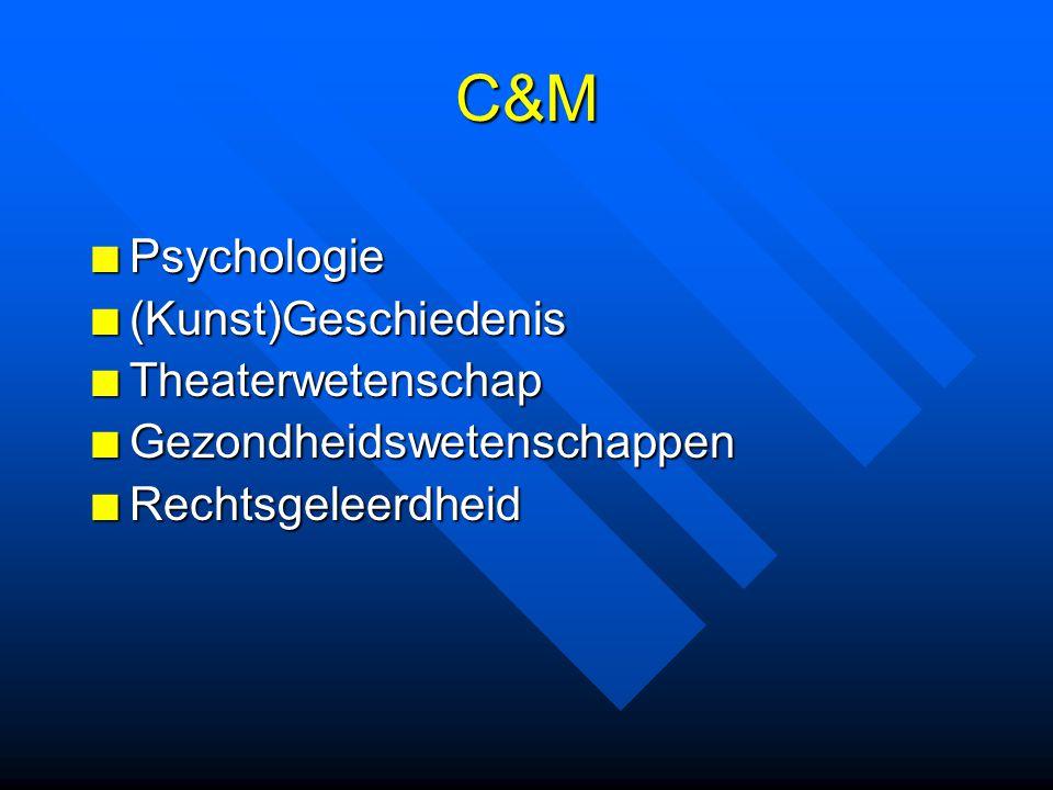 C&M Psychologie(Kunst)GeschiedenisTheaterwetenschapGezondheidswetenschappenRechtsgeleerdheid