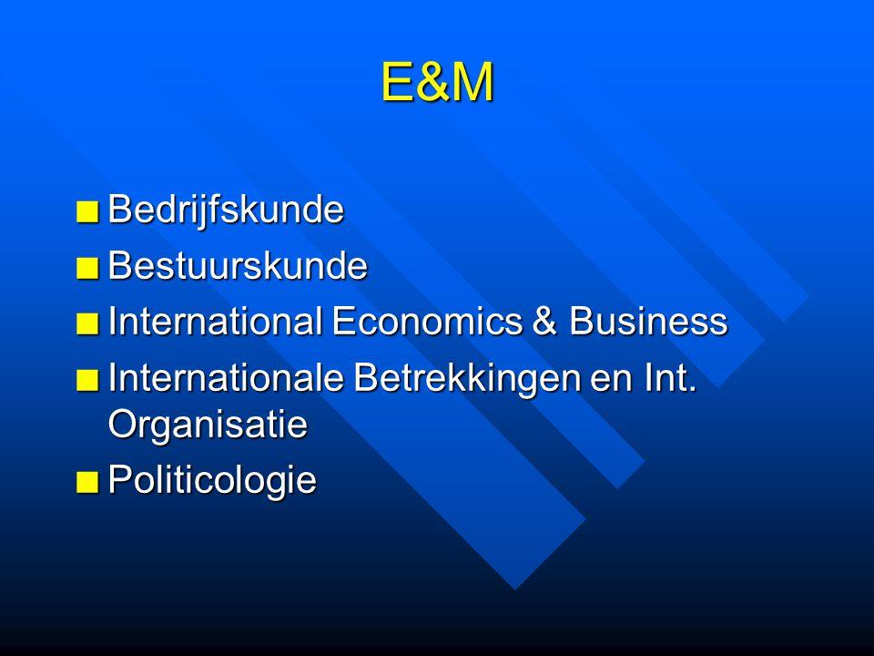 E&M BedrijfskundeBestuurskunde International Economics & Business Internationale Betrekkingen en Int. Organisatie Politicologie