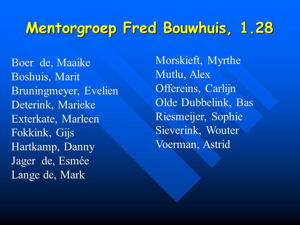 Mentorgroep Fred Bouwhuis, 1.28 Boer de, Maaike Boshuis, Marit Bruningmeyer, Evelien Deterink, Marieke Exterkate, Marleen Fokkink, Gijs Hartkamp, Dann