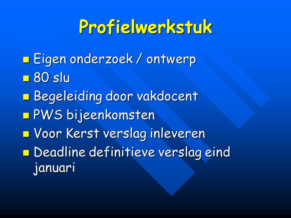 Profielwerkstuk Eigen onderzoek / ontwerp Eigen onderzoek / ontwerp 80 slu 80 slu Begeleiding door vakdocent Begeleiding door vakdocent PWS bijeenkoms