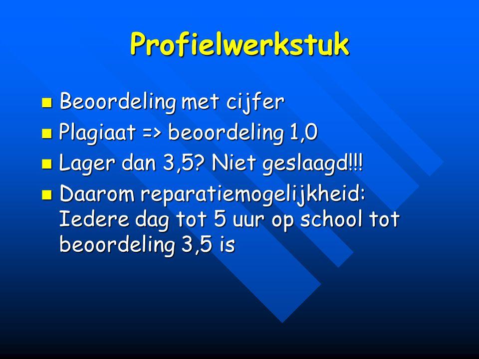 Profielwerkstuk Beoordeling met cijfer Beoordeling met cijfer Plagiaat => beoordeling 1,0 Plagiaat => beoordeling 1,0 Lager dan 3,5? Niet geslaagd!!!