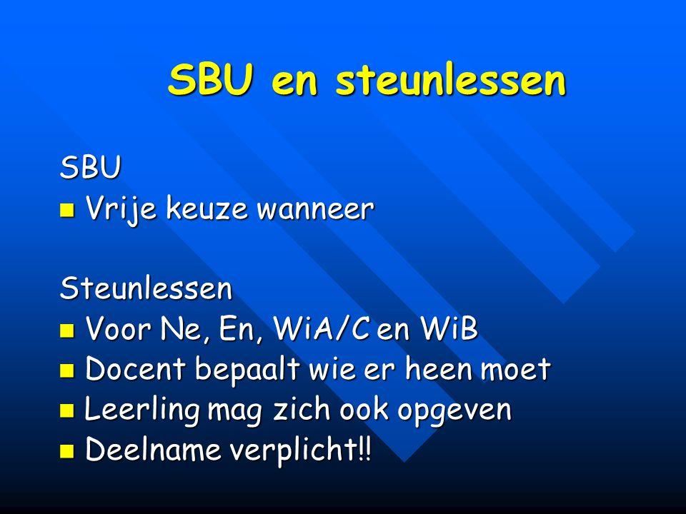 SBU en steunlessen SBU Vrije keuze wanneer Vrije keuze wanneerSteunlessen Voor Ne, En, WiA/C en WiB Voor Ne, En, WiA/C en WiB Docent bepaalt wie er he