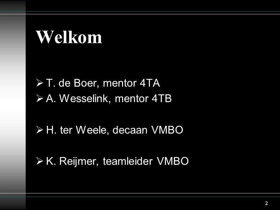 2 Welkom  T. de Boer, mentor 4TA  A. Wesselink, mentor 4TB  H.