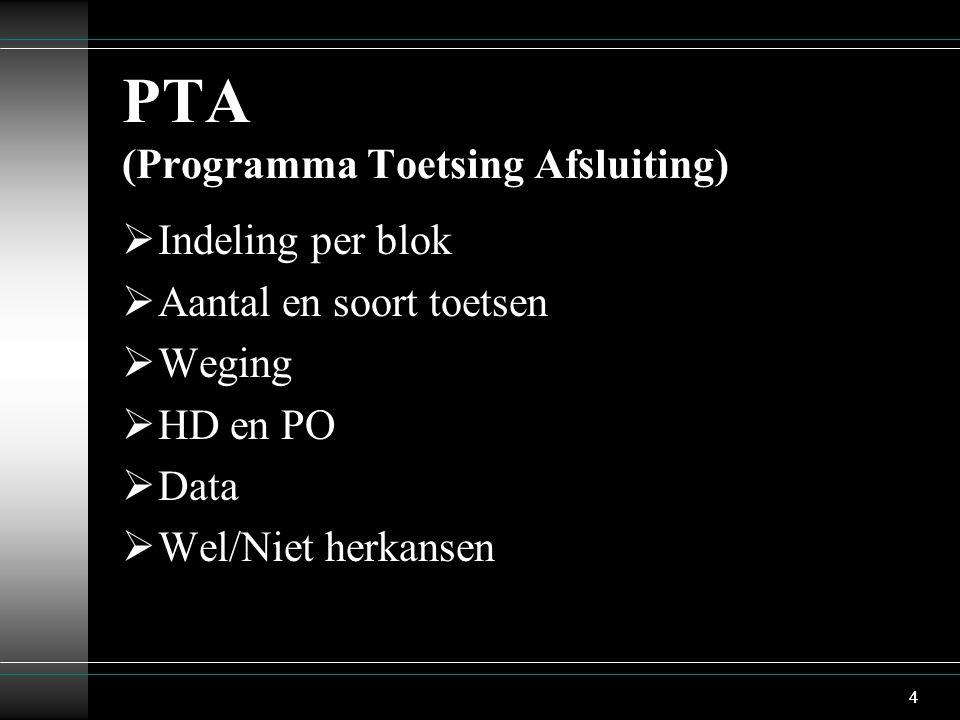 4 PTA (Programma Toetsing Afsluiting)  Indeling per blok  Aantal en soort toetsen  Weging  HD en PO  Data  Wel/Niet herkansen 4
