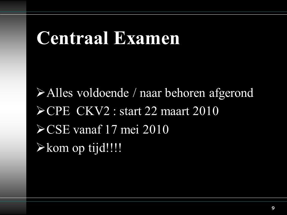 9 Centraal Examen  Alles voldoende / naar behoren afgerond  CPE CKV2 : start 22 maart 2010  CSE vanaf 17 mei 2010  kom op tijd!!!.