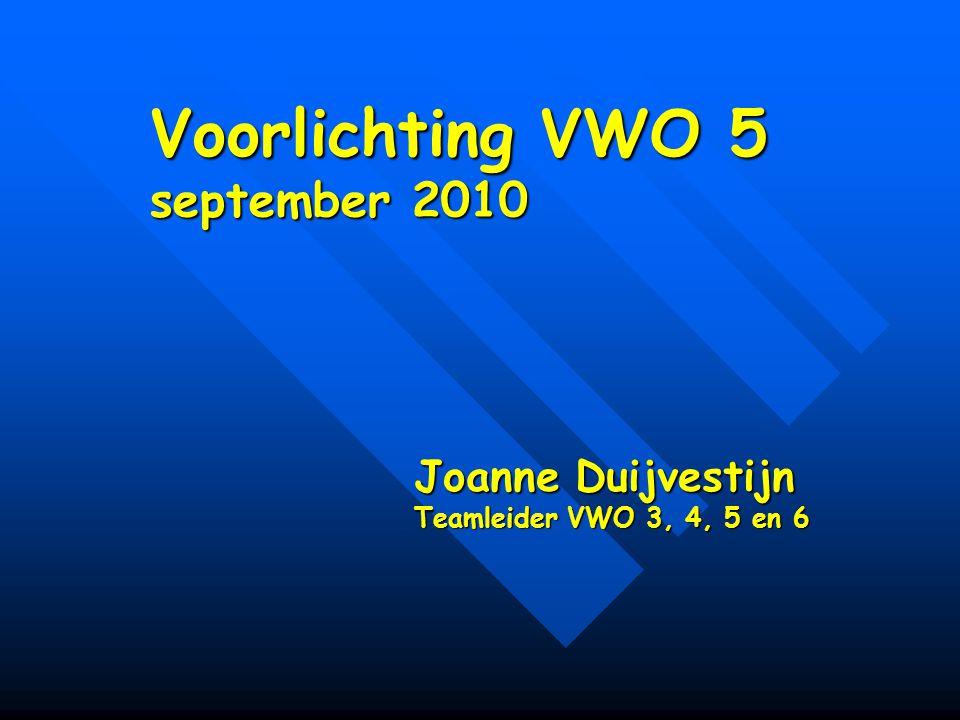 Voorlichting VWO 5 september 2010 Joanne Duijvestijn Teamleider VWO 3, 4, 5 en 6