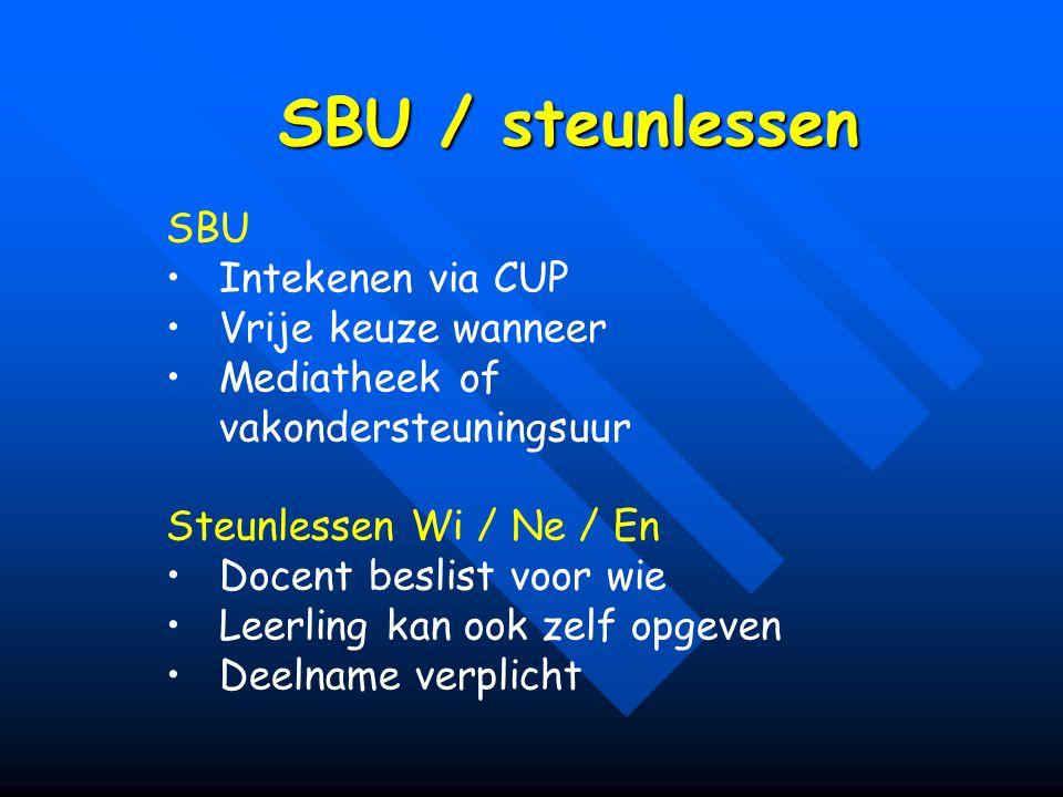 SBU / steunlessen SBU Intekenen via CUP Vrije keuze wanneer Mediatheek of vakondersteuningsuur Steunlessen Wi / Ne / En Docent beslist voor wie Leerling kan ook zelf opgeven Deelname verplicht