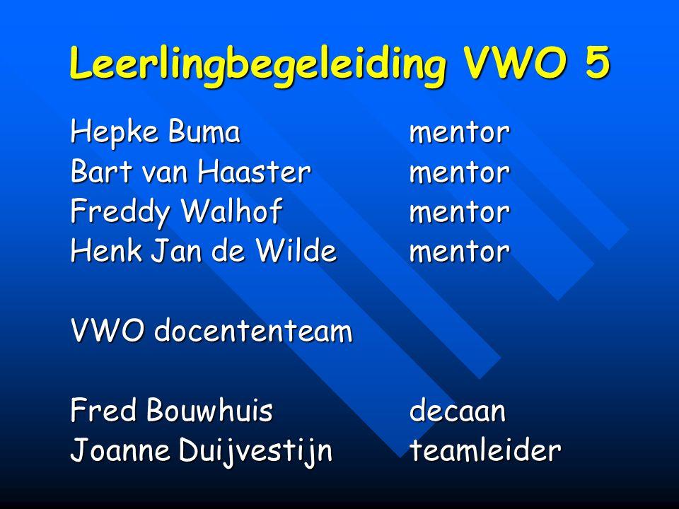 Leerlingbegeleiding VWO 5 Hepke Bumamentor Bart van Haastermentor Freddy Walhofmentor Henk Jan de Wildementor VWO docententeam Fred Bouwhuisdecaan Joanne Duijvestijnteamleider