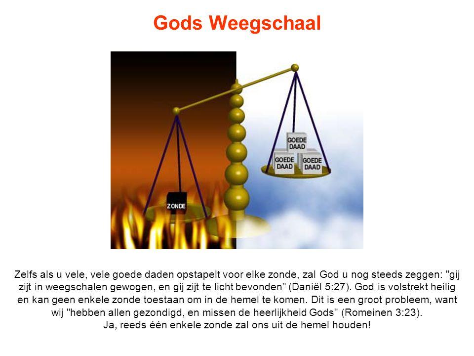 Gods Weegschaal Zelfs als u vele, vele goede daden opstapelt voor elke zonde, zal God u nog steeds zeggen:
