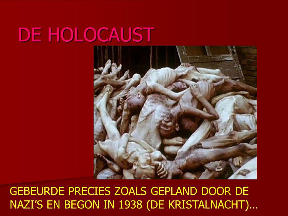 GEBEURDE PRECIES ZOALS GEPLAND DOOR DE NAZI'S EN BEGON IN 1938 (DE KRISTALNACHT)… DE HOLOCAUST