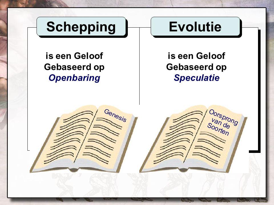 is een Geloof Gebaseerd op Openbaring is een Geloof Gebaseerd op Speculatie Schepping Evolutie