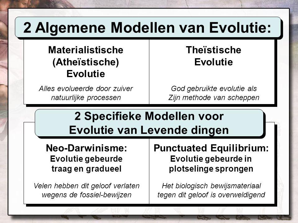 Materialistische (Atheïstische) Evolutie Alles evolueerde door zuiver natuurlijke processen Theïstische Evolutie God gebruikte evolutie als Zijn metho