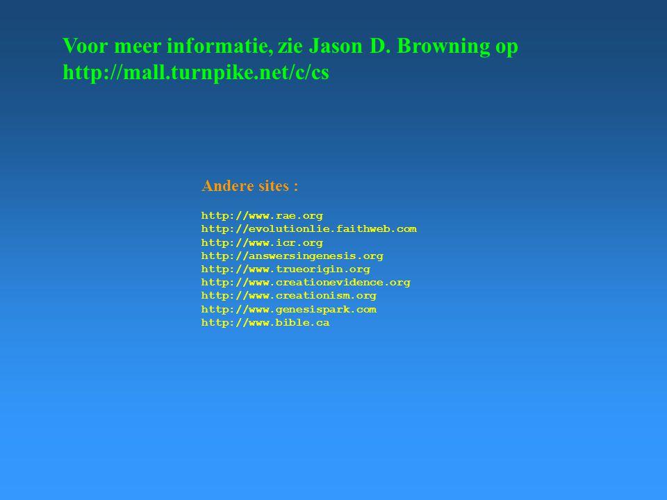 Voor meer informatie, zie Jason D. Browning op http://mall.turnpike.net/c/cs Andere sites : http://www.rae.org http://evolutionlie.faithweb.com http:/