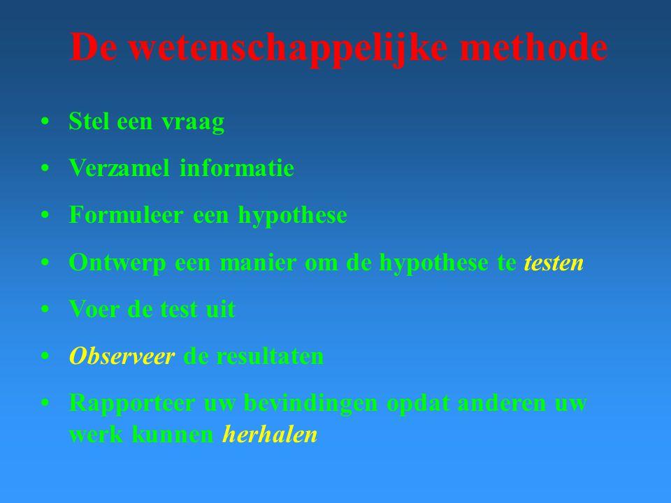 De wetenschappelijke methode Stel een vraag Verzamel informatie Formuleer een hypothese Ontwerp een manier om de hypothese te testen Voer de test uit