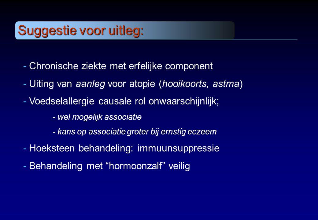 - Chronische ziekte met erfelijke component - Uiting van aanleg voor atopie (hooikoorts, astma) - Voedselallergie causale rol onwaarschijnlijk; - wel