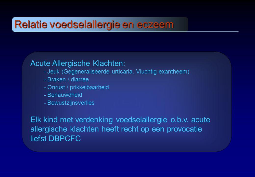 Relatie voedselallergie en eczeem Acute Allergische Klachten: - Jeuk (Gegeneraliseerde urticaria, Vluchtig exantheem) - Braken / diarree - Onrust / pr