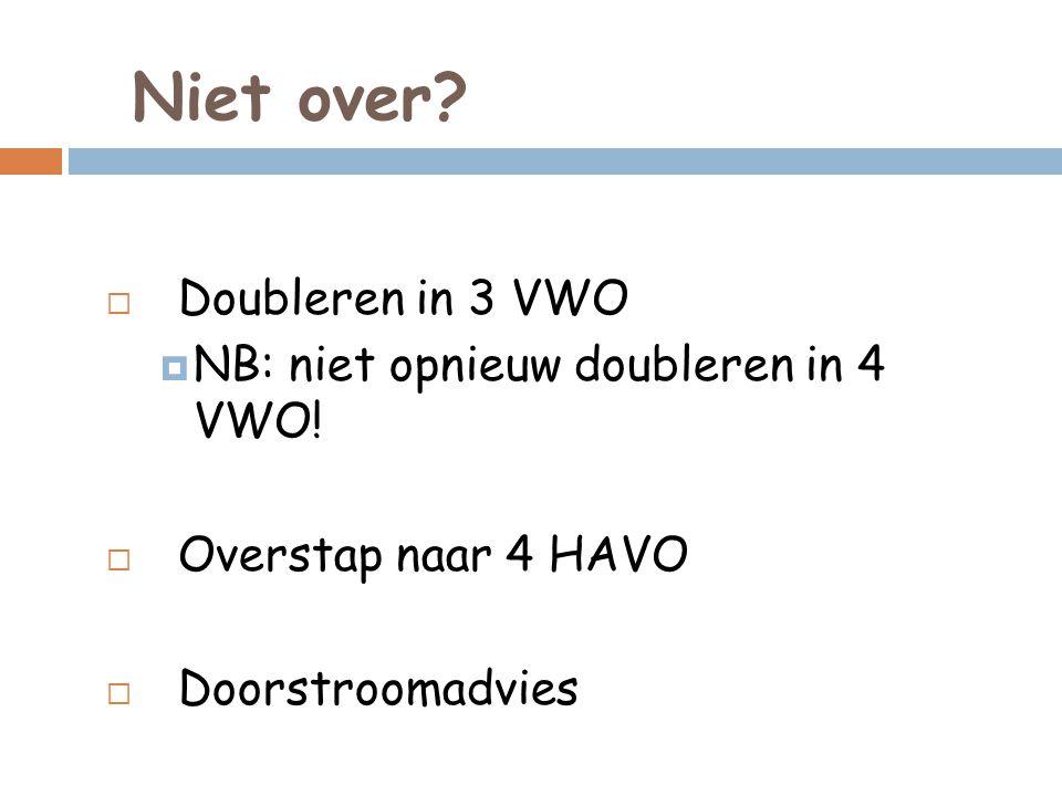 Niet over.  Doubleren in 3 VWO  NB: niet opnieuw doubleren in 4 VWO.