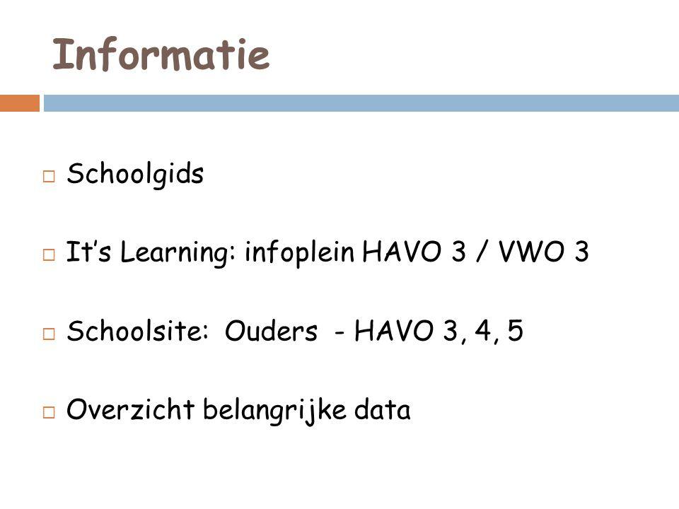 Informatie  Schoolgids  It's Learning: infoplein HAVO 3 / VWO 3  Schoolsite: Ouders - HAVO 3, 4, 5  Overzicht belangrijke data