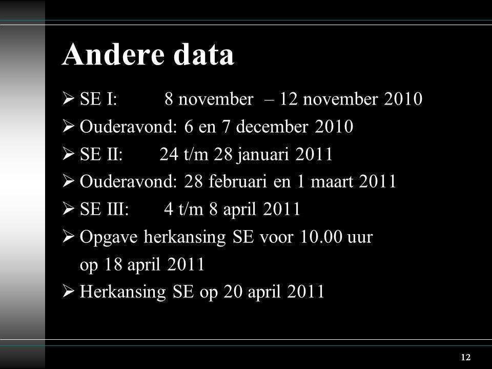 12 Andere data  SE I: 8 november – 12 november 2010  Ouderavond: 6 en 7 december 2010  SE II:24 t/m 28 januari 2011  Ouderavond: 28 februari en 1