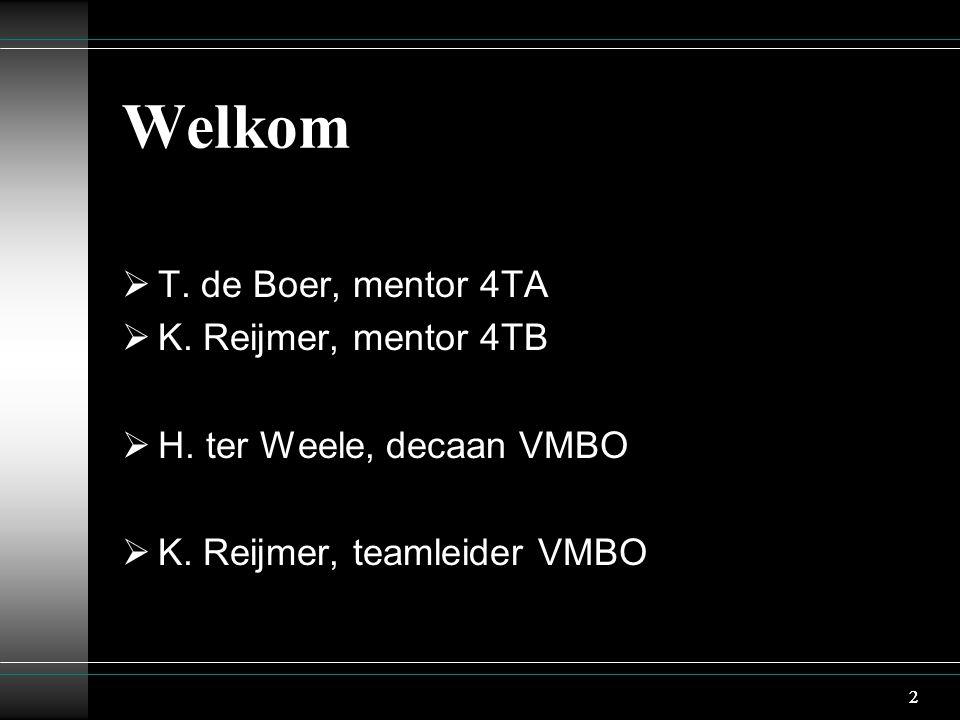 2 Welkom  T. de Boer, mentor 4TA  K. Reijmer, mentor 4TB  H. ter Weele, decaan VMBO  K. Reijmer, teamleider VMBO 2