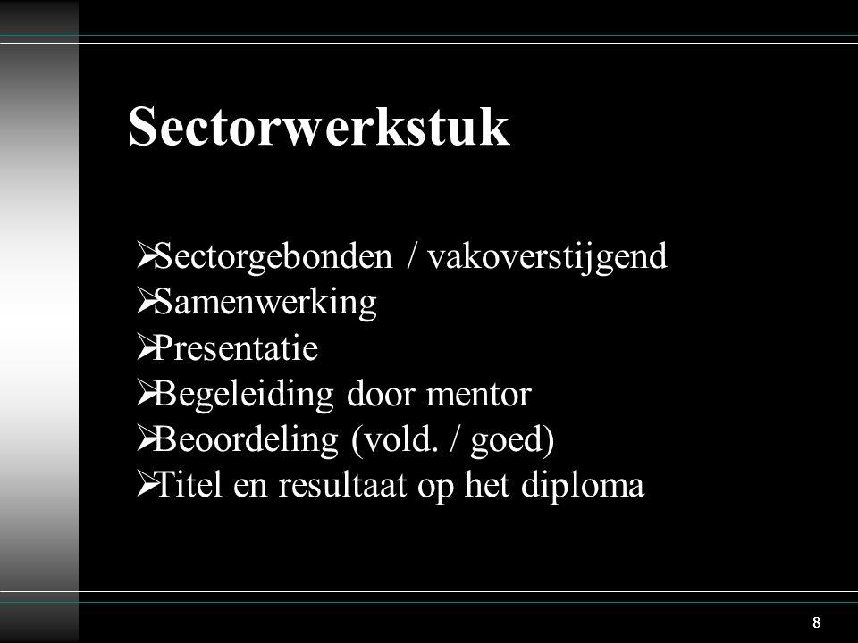 88 Sectorwerkstuk  Sectorgebonden / vakoverstijgend  Samenwerking  Presentatie  Begeleiding door mentor  Beoordeling (vold.
