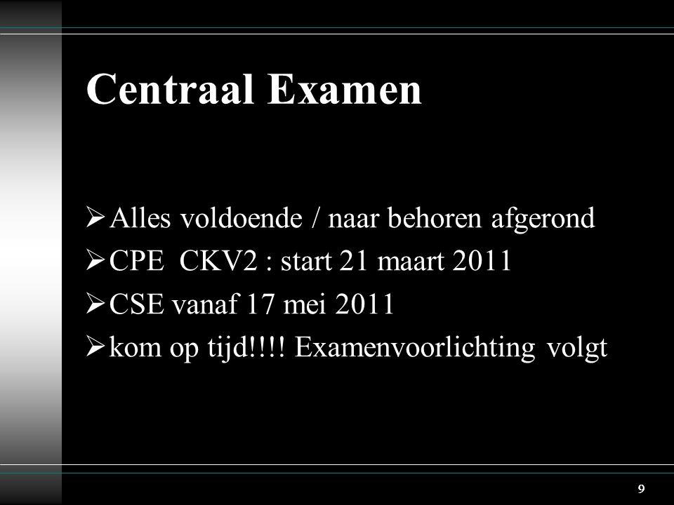 9 Centraal Examen  Alles voldoende / naar behoren afgerond  CPE CKV2 : start 21 maart 2011  CSE vanaf 17 mei 2011  kom op tijd!!!! Examenvoorlicht