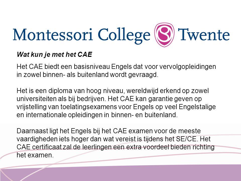 Wat kun je met het CAE Het CAE biedt een basisniveau Engels dat voor vervolgopleidingen in zowel binnen- als buitenland wordt gevraagd.