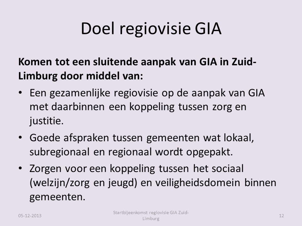 Doel regiovisie GIA Komen tot een sluitende aanpak van GIA in Zuid- Limburg door middel van: Een gezamenlijke regiovisie op de aanpak van GIA met daarbinnen een koppeling tussen zorg en justitie.