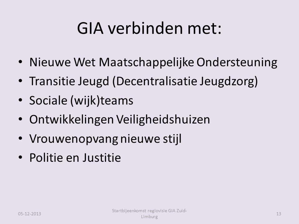 GIA verbinden met: Nieuwe Wet Maatschappelijke Ondersteuning Transitie Jeugd (Decentralisatie Jeugdzorg) Sociale (wijk)teams Ontwikkelingen Veiligheidshuizen Vrouwenopvang nieuwe stijl Politie en Justitie 05-12-2013 Startbijeenkomst regiovisie GIA Zuid- Limburg 13