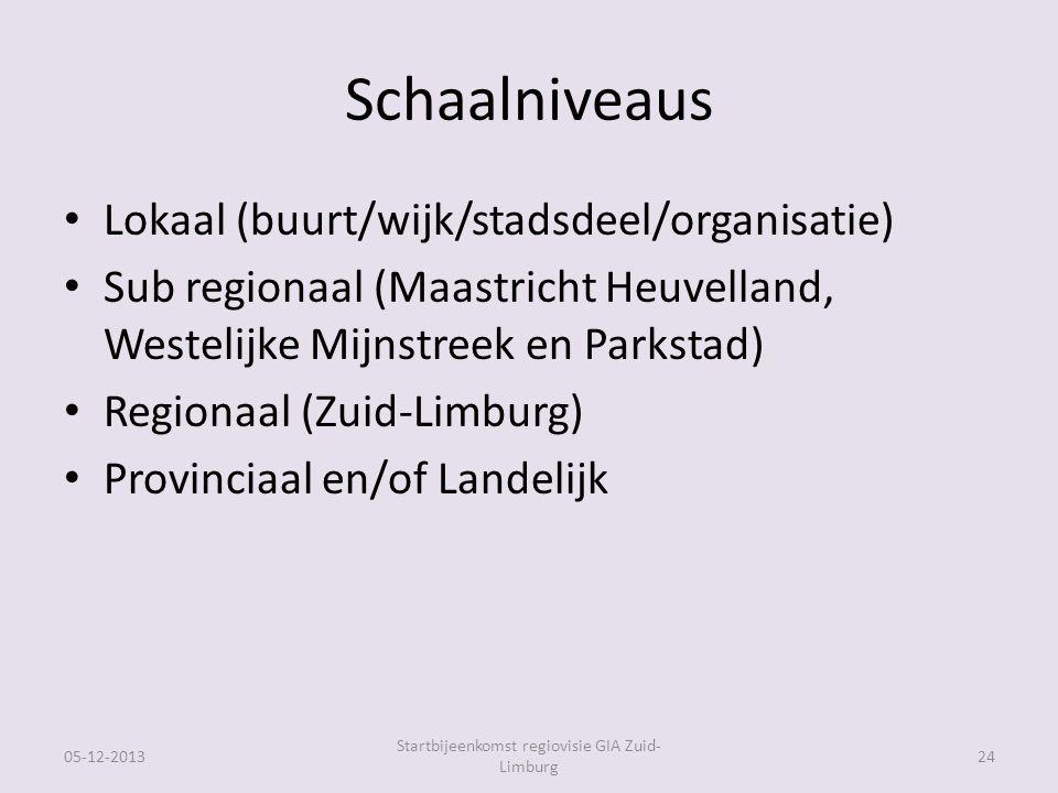 Schaalniveaus Lokaal (buurt/wijk/stadsdeel/organisatie) Sub regionaal (Maastricht Heuvelland, Westelijke Mijnstreek en Parkstad) Regionaal (Zuid-Limburg) Provinciaal en/of Landelijk 05-12-2013 Startbijeenkomst regiovisie GIA Zuid- Limburg 24