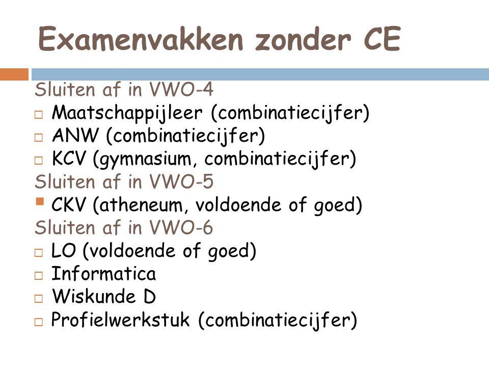 Examenvakken zonder CE Sluiten af in VWO-4  Maatschappijleer (combinatiecijfer)  ANW (combinatiecijfer)  KCV (gymnasium, combinatiecijfer) Sluiten af in VWO-5  CKV (atheneum, voldoende of goed) Sluiten af in VWO-6  LO (voldoende of goed)  Informatica  Wiskunde D  Profielwerkstuk (combinatiecijfer)