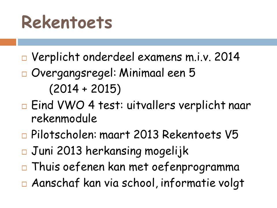 Rekentoets  Verplicht onderdeel examens m.i.v.