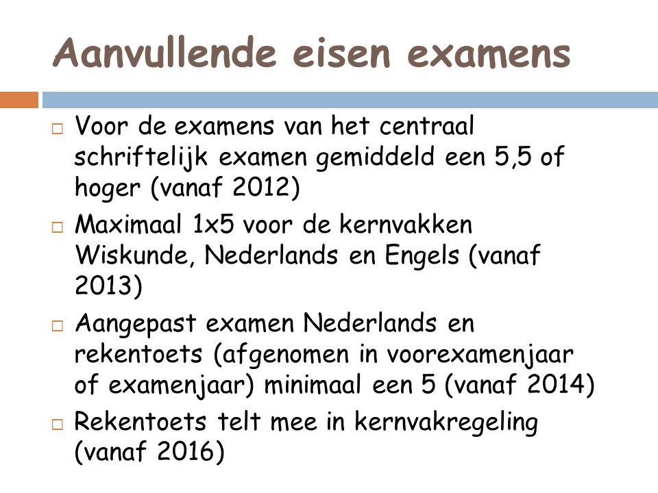 Aanvullende eisen examens  Voor de examens van het centraal schriftelijk examen gemiddeld een 5,5 of hoger (vanaf 2012)  Maximaal 1x5 voor de kernva