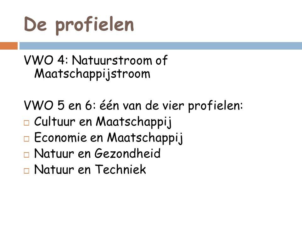 De profielen VWO 4: Natuurstroom of Maatschappijstroom VWO 5 en 6: één van de vier profielen:  Cultuur en Maatschappij  Economie en Maatschappij  N