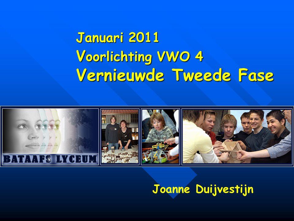 Januari 2011 V oorlichting VWO 4 Vernieuwde Tweede Fase Joanne Duijvestijn