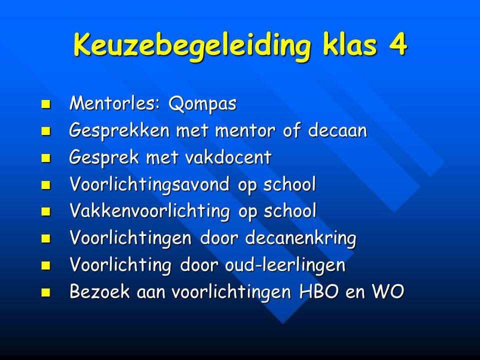 Keuzebegeleiding klas 4 Mentorles: Qompas Mentorles: Qompas Gesprekken met mentor of decaan Gesprekken met mentor of decaan Gesprek met vakdocent Gesp