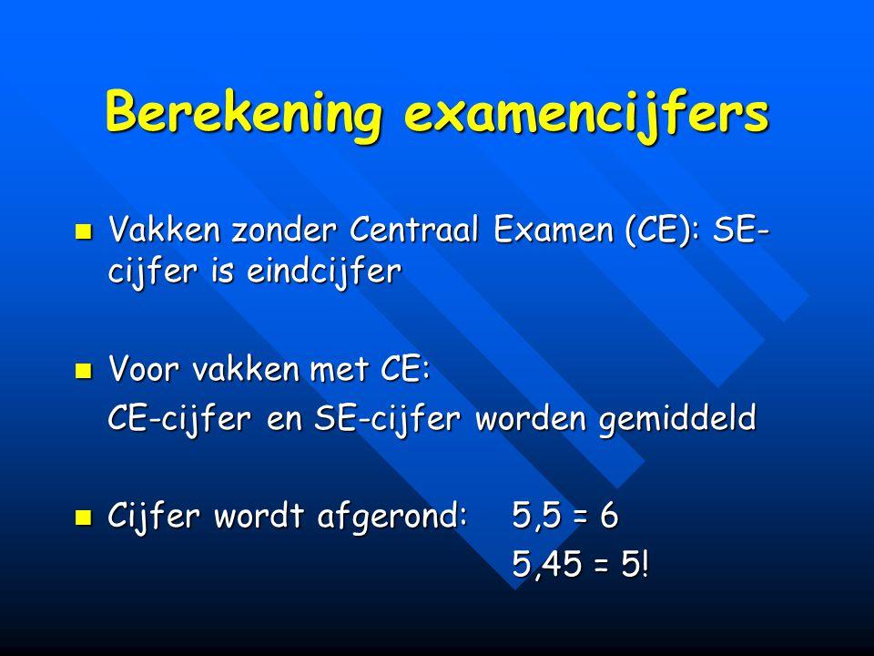 Berekening examencijfers Vakken zonder Centraal Examen (CE): SE- cijfer is eindcijfer Vakken zonder Centraal Examen (CE): SE- cijfer is eindcijfer Voor vakken met CE: Voor vakken met CE: CE-cijfer en SE-cijfer worden gemiddeld Cijfer wordt afgerond: 5,5 = 6 Cijfer wordt afgerond: 5,5 = 6 5,45 = 5!