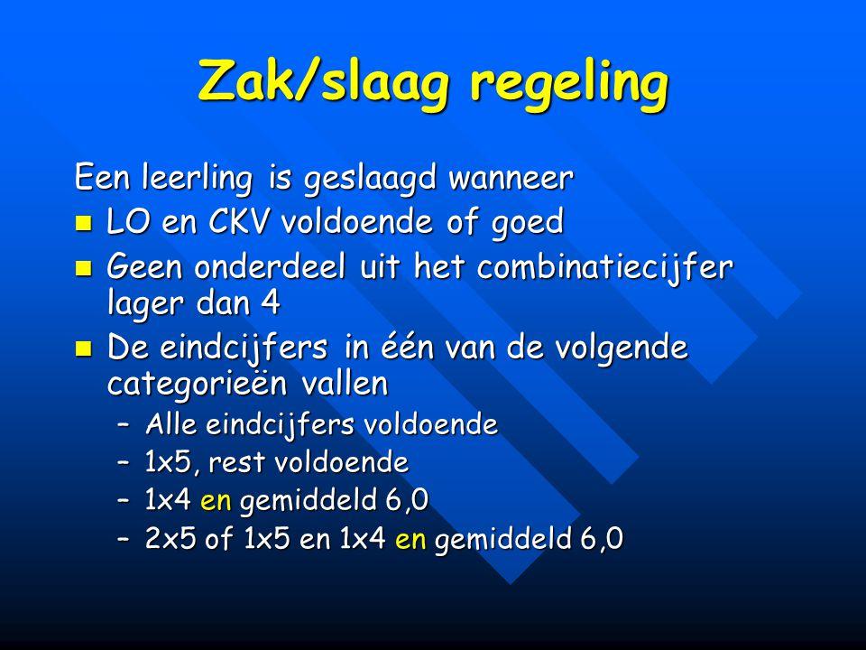Zak/slaag regeling Een leerling is geslaagd wanneer LO en CKV voldoende of goed LO en CKV voldoende of goed Geen onderdeel uit het combinatiecijfer la