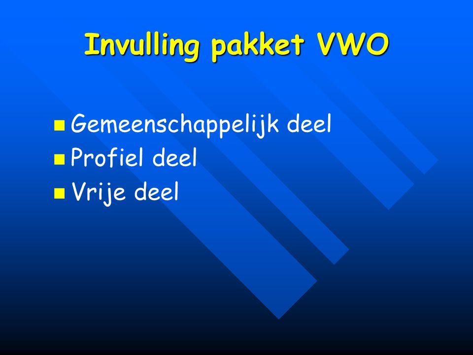 Invulling pakket VWO Gemeenschappelijk deel Profiel deel Vrije deel