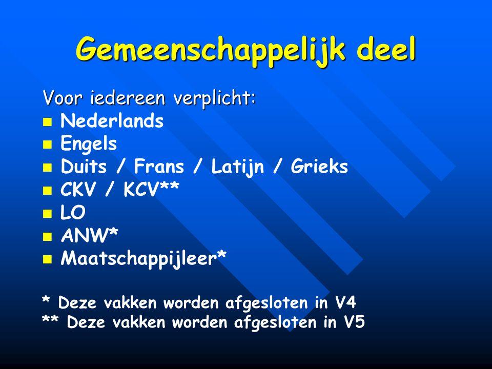 Gemeenschappelijk deel Voor iedereen verplicht: Nederlands Engels Duits / Frans / Latijn / Grieks CKV / KCV** LO ANW* Maatschappijleer* * Deze vakken